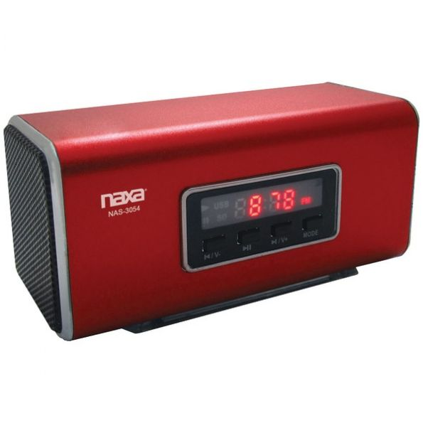 Naxa Pspkr W/usb/fm/led Red