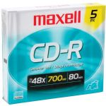 Maxell 80min 5pk Cdr Slim Jewel Case